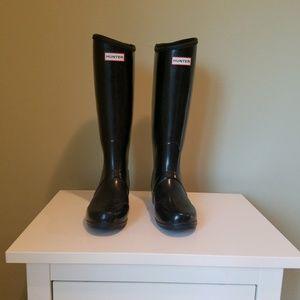 Hunter Black Tall Equestrian Rain Boots RARE